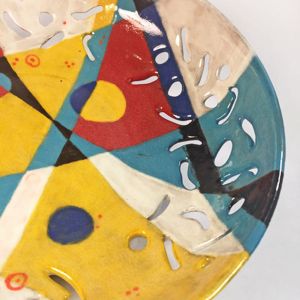 "Carved Ceramic Bowl ""Primary Geometrics""/Cheerful Decor for Kitchen!"