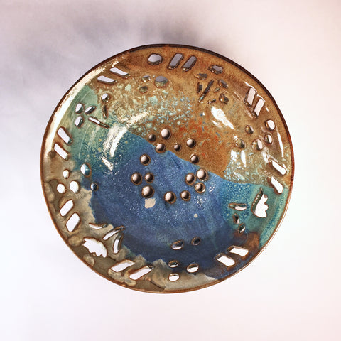 Carved Ceramic Bowl with Multi-Glaze Effects in Blues/Golds/Greens!