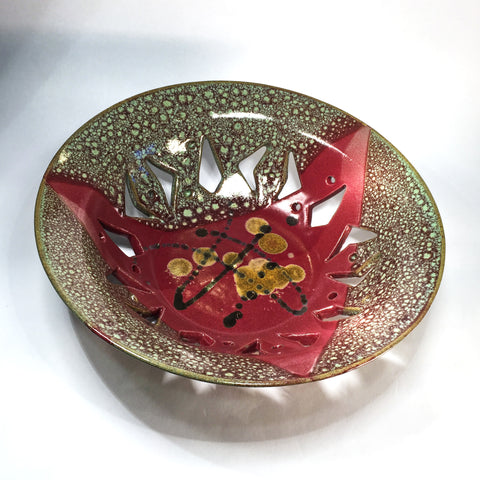 """Golden Drops"" Carved Ceramic Bowl with Exciting Multiple Glaze Effect"