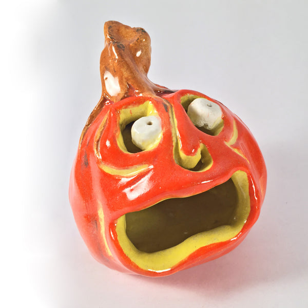 "Unique Halloween Decoration-Ceramic Jack o'lantern ""Little Jack Fright""! Two Faces!"