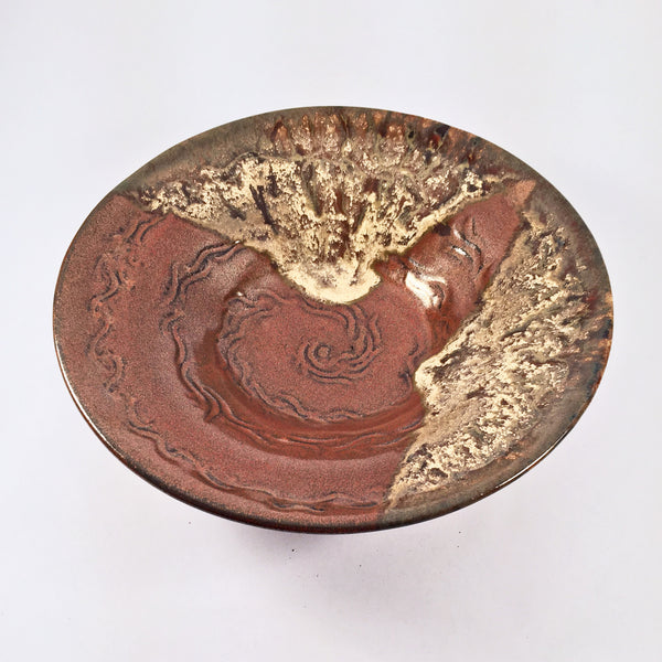 Low-Profile Molten Glaze Bowl. Elegant, Hand-Crafted Home Decor Item.