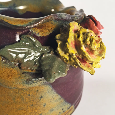 "Darling Ceramic Vase with ""Rose Rim"". Beautiful Sculpted Colorful Flowers. Elegant Glazes!"