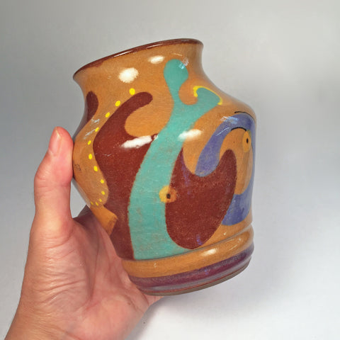 Ceramic Vase in Swirls of Teal, turquoise, browns