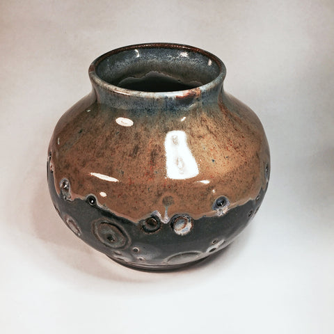 "Ceramic Vase ""Molten Circles""/Gorgeous Mixed Glazes/Designer Art Piece"