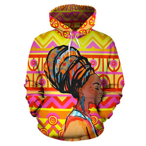 African Girl Aztec All Over Print Hoodie