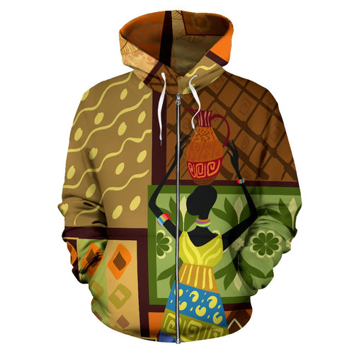 African Girl Design All Over Zip Up Hoodie