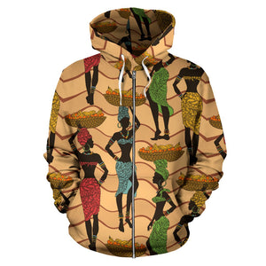African Girl Pattern All Over Zip Up Hoodie