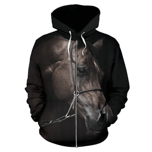 Black Horse Women Men Zip Up Hoodie