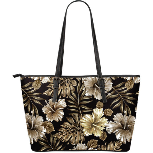 Brown Hibiscus Tropical Large Leather Tote Bag
