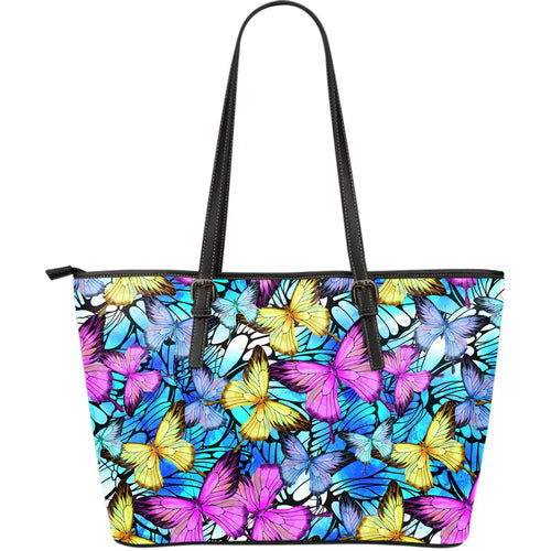 Butterfly Colorful Large Leather Tote Bag