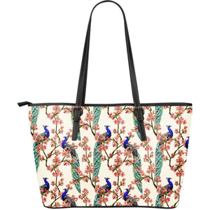 Cherry Blossom Peacock Large Leather Tote Bag
