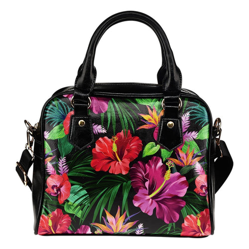Floral Hibiscus Hawaiian tropical flower Leather Shoulder Handbag