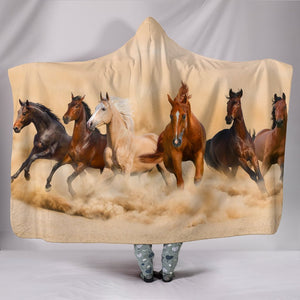 Horses Hooded Blanket