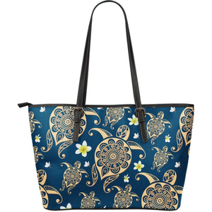 Tribal Sea Turtle Plumeria Hawaiian Flower Large Leather Tote Bag