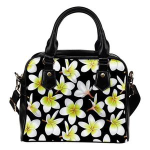 Yellow Plumeria Hawaiian flower Leather Shoulder Handbag