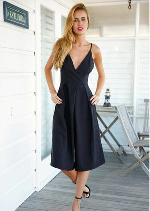 Rompers Womens Black Linen Cotton Jumpsuit Backless Xl Halter Wide Leg Sexy Elegant Jumpsuit Celebrity Summer Plus Size V Neck