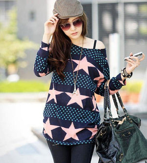 2016 New Autumn Women  Clothing Knitted Print Top/tee Blue Sweaters Womens Sweaters Fashion  Loose Sweater  Pullovers Plus Size