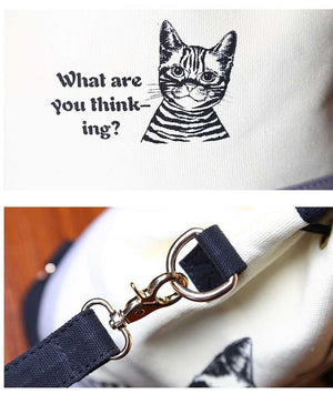 2016 Women Bags Spanish Canvas Bucket Bag Handbag Fashion Retro Canvas Women Shoulder Bag Vintage Print Cat Bags Female Bolso