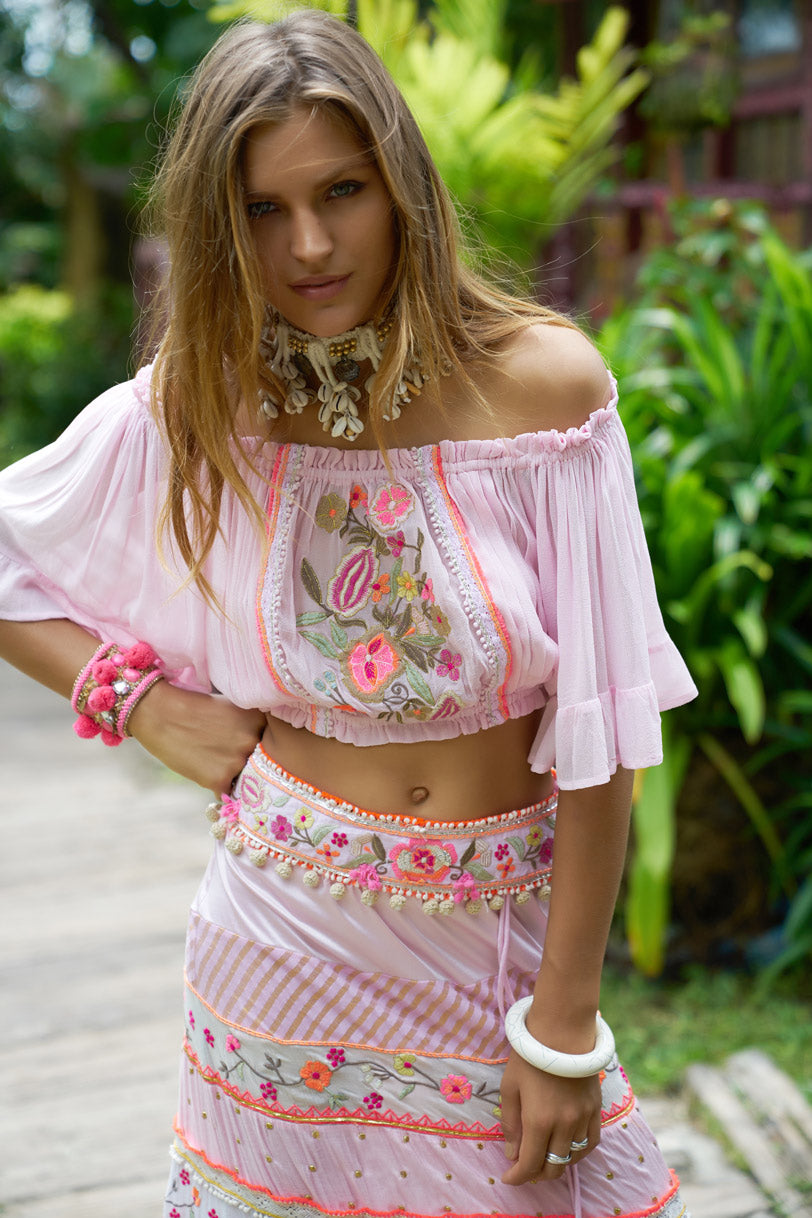 PINK TOP AND MAXI SKIRT