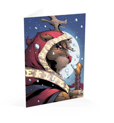 Rudolph Hero of Christmas Card