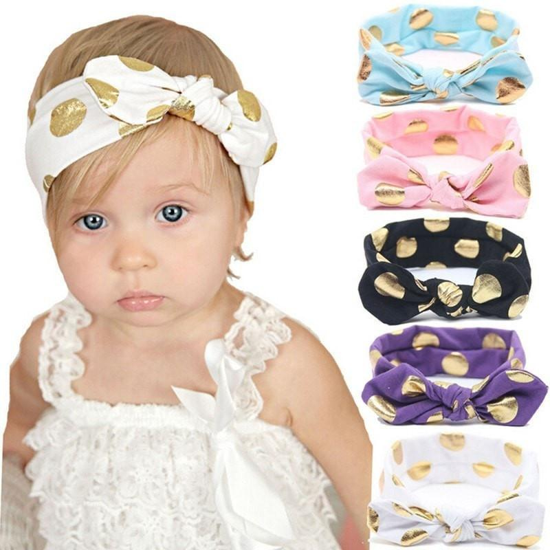 Gold Polka Dots Girls Knotted Bow Headband