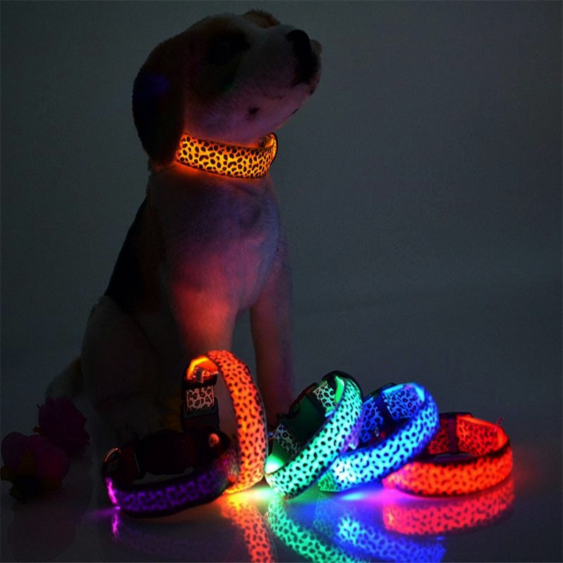 Night Light Up LED Leopard & Color Nylon Dog Collar