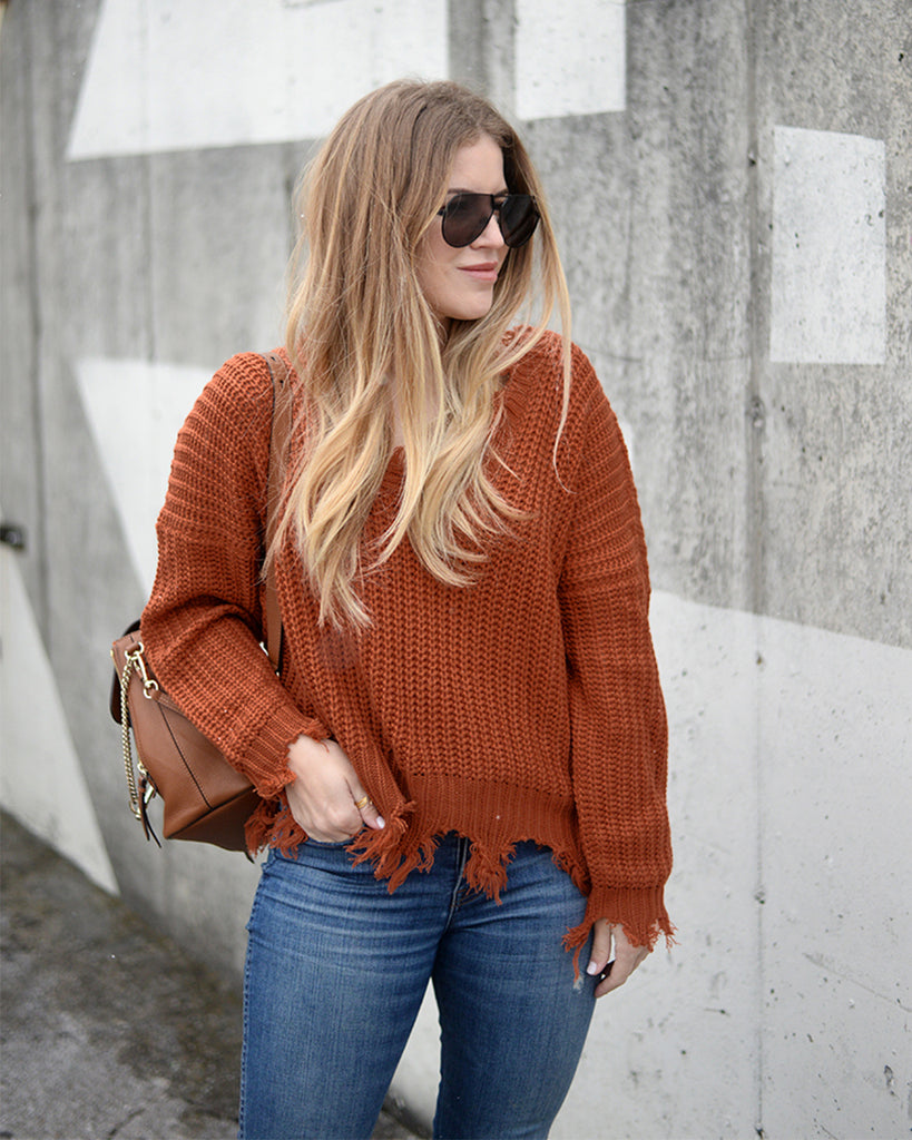 My Way Distressed Sweater