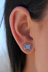 KLR Silver Logo Earrings