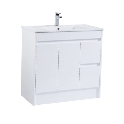 900 PVC Waterproof Vanity, White Gloss, Slimline Ceramic top