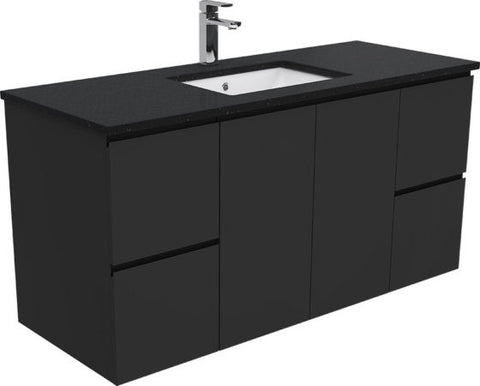 1200 BLACK Dana Wall Hung Vanity, Black Stone Undermount Top