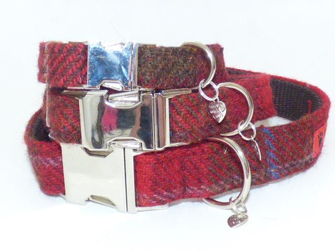 (Blair) Harris Tweed Dog Collar  -  Dark Red Check - BOWZOS