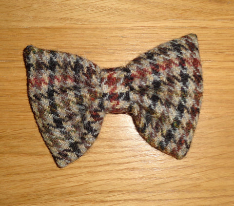 Bowzos Bow - Harris Tweed Brown Houndstooth - BOWZOS