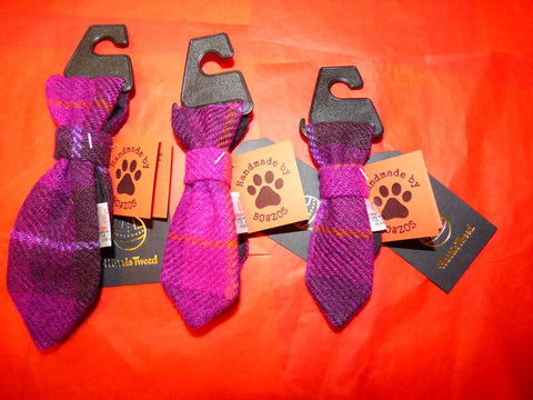 Bowzos Harris Tweed Dog Tie - Fuchsia Purple Check - BOWZOS