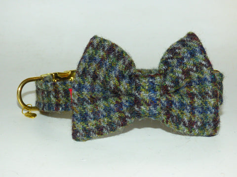 (Hamish) Houndstooth Harris Tweed Bow Tie Dog Collar (with Gold Look Buckle & Brass Findings) - BOWZOS