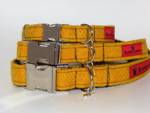 (Cairn) Harris Tweed Dog Collar  - Citrus Yellow - BOWZOS
