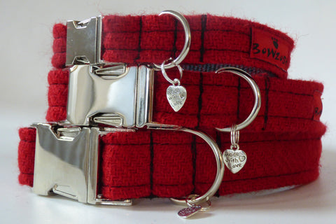 (Cranberry) Harris Tweed Dog Collar - BOWZOS