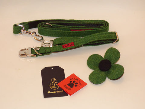 (Evergreen) Harris Tweed Flower Dog Collar & Lead Set - Green - BOWZOS
