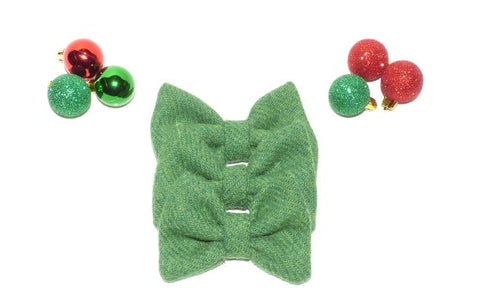 (Evergreen) Bowzos Bow - Harris Tweed Green - BOWZOS