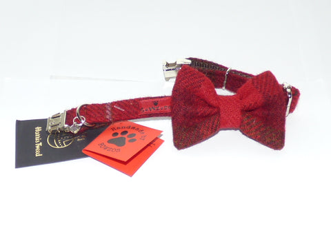 (Blair) Harris Tweed Bow Tie Dog Collar - Dark Red Check - BOWZOS