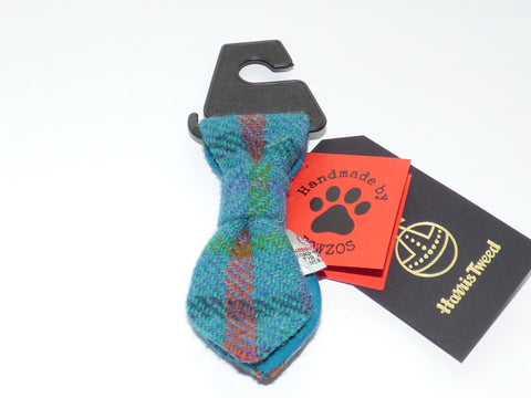 (Tiree) Bowzos Harris Tweed Dog Tie - Turquoise Check - BOWZOS