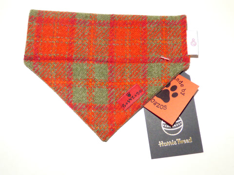 (Arran) Bowzos Harris Tweed Bandana - Orange  Check - BOWZOS