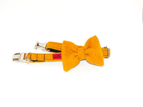 (Cairn) Harris Tweed Bow Tie Dog Collar - Citrus Yellow - BOWZOS