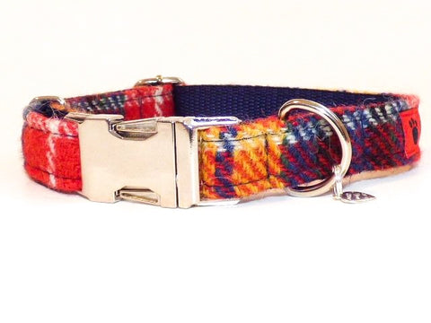 (Bute) Harris Tweed Dog Collar - Tartan - BOWZOS