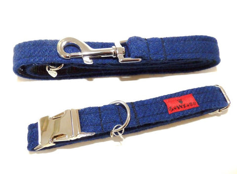 (Balmoral) Harris Tweed Dog Collar & Lead Set - Blue (with Silver Buckle & Findings) - BOWZOS