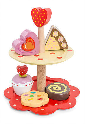 Toy Cake Stand - Wooden 2 tier