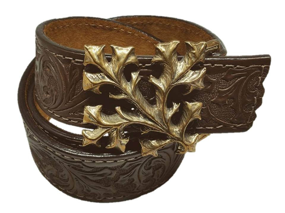 Leather Belt - Celtic Leaf - Maduro