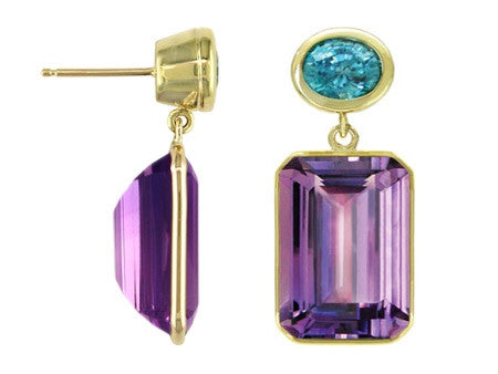 BLUE ZIRCON AND AMETHYST DROP EARRINGS