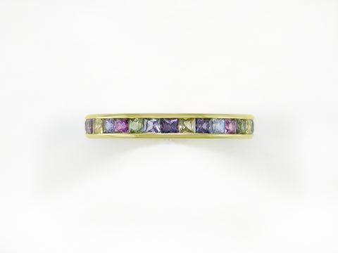 PRINCESS CUT MULTICOLOR SAPPHIRE ETERNITY RING