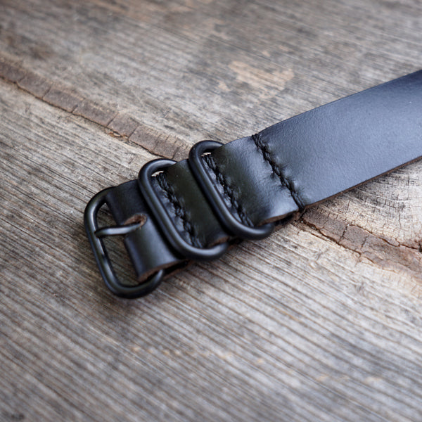 black horween nato watch band with black hardware
