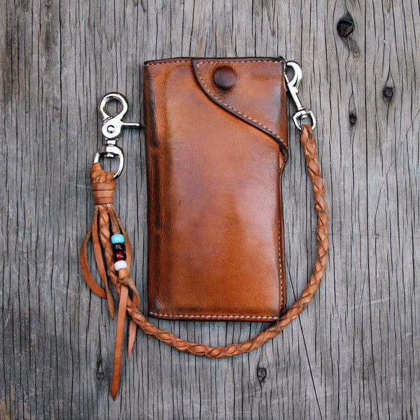 Aged natural veg tan wallet and tether